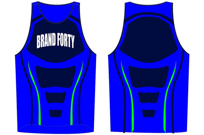 blue sleeveless jersey