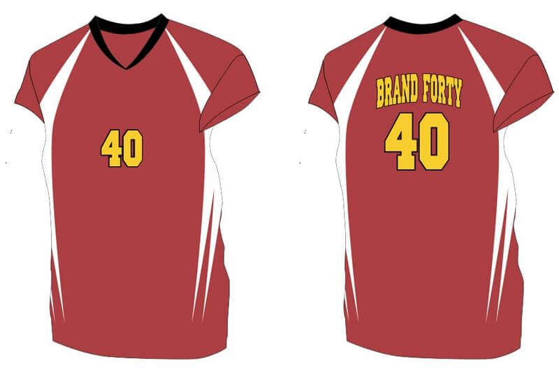 red short sleeve with white sides