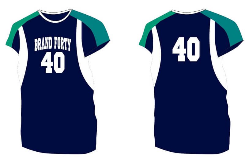 navy short sleeve with green shoulders and white sides