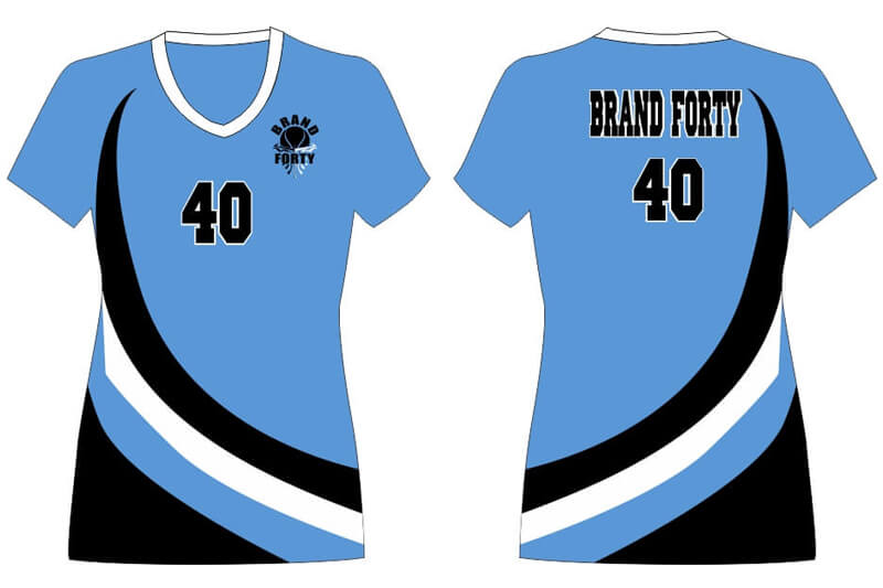 light blue jersey with black and white details